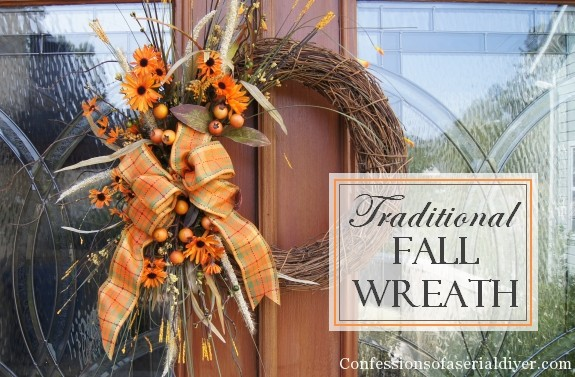 traditional fall wreath at Confessions of a Serial DIYer