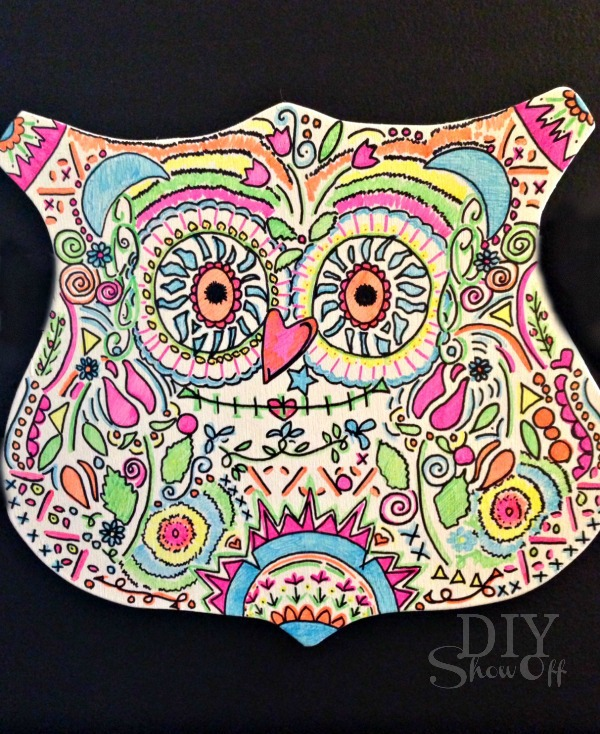 DIY Neon Sharpie Candy Skull Owl