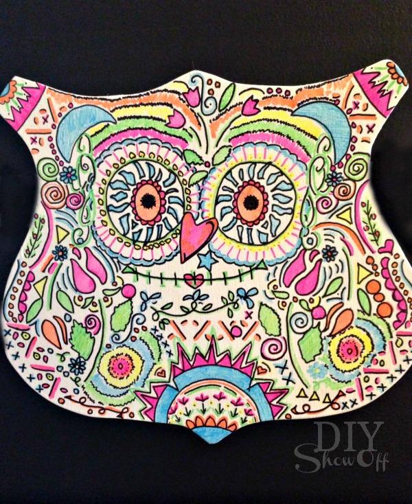DIY Neon Sharpie Candy Skull Owl