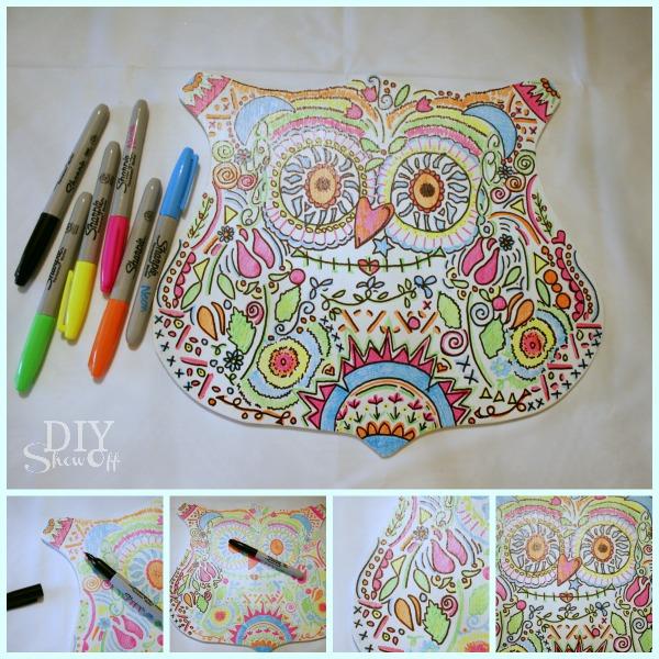 Neon Sharpie Candy Skull Owl