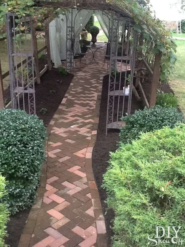 recycled brick walkway