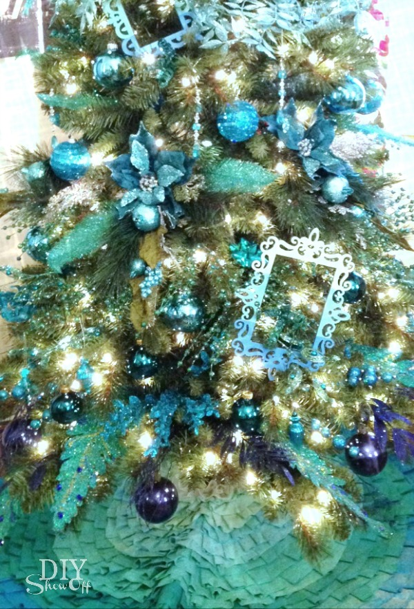blue-green ombre Christmas tree