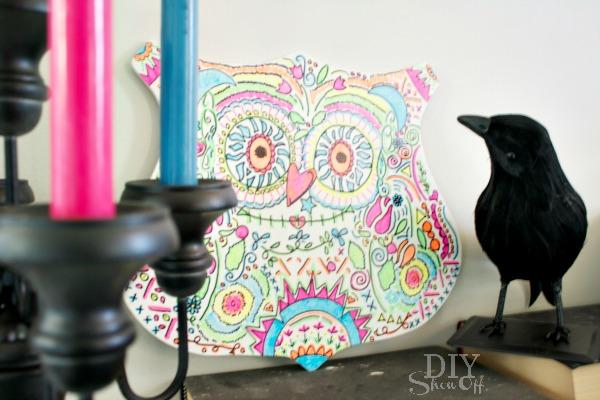 candy skull owl decor