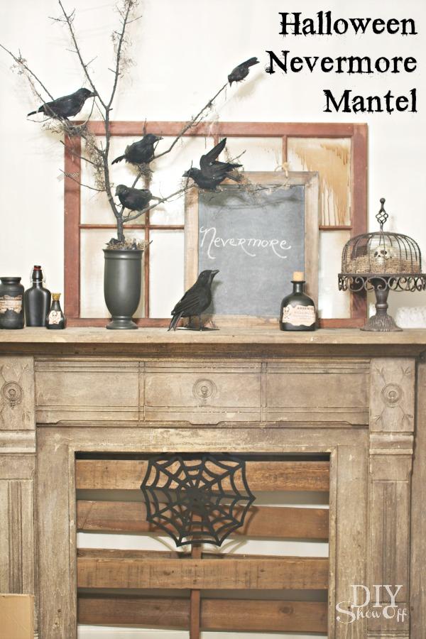 Nevermore Halloween Mantel