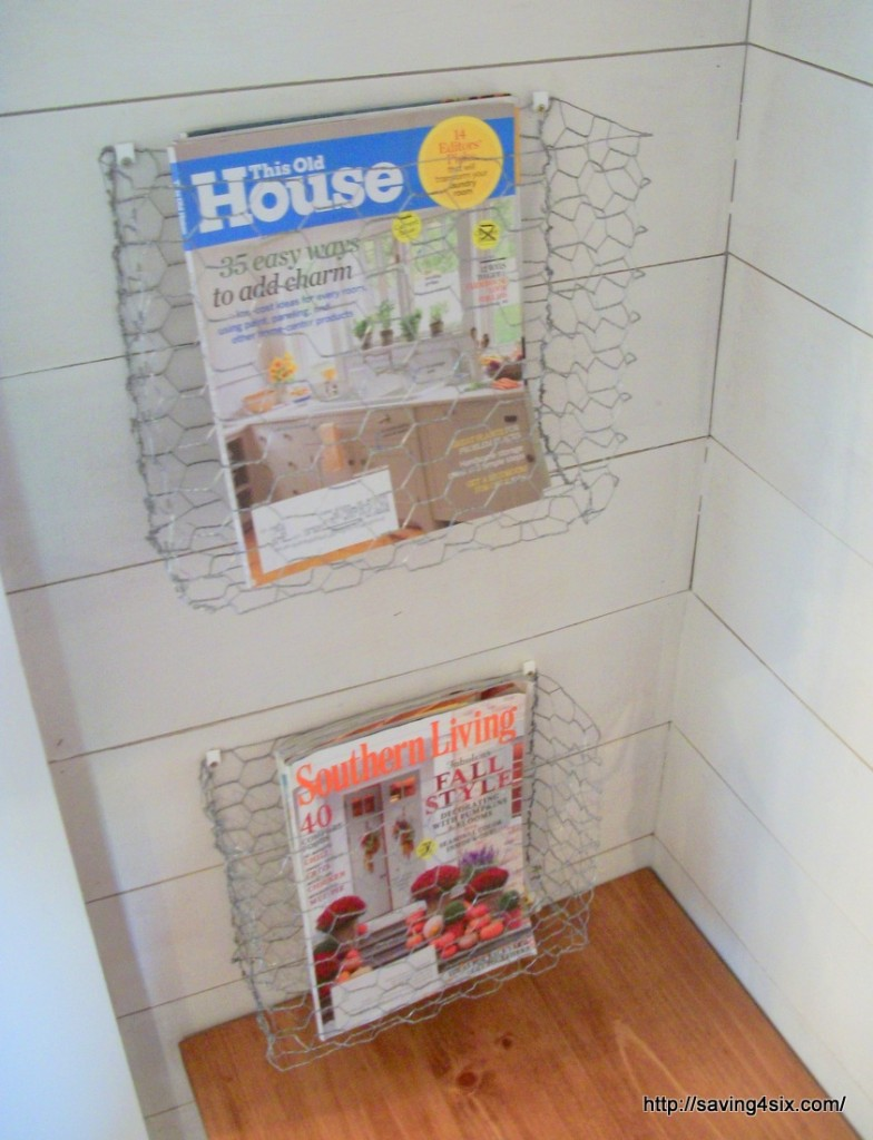 DIY chicken wire magazine basket at Saving 4 Six