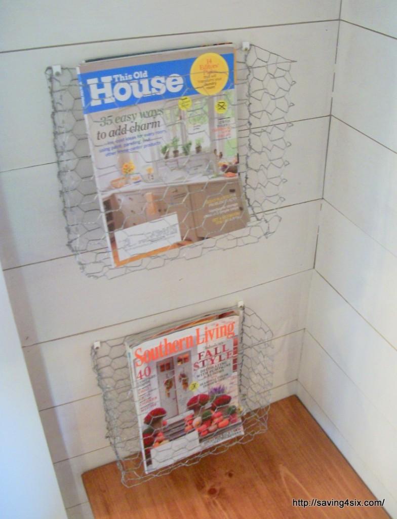 DIY chicken wire magazine basket at Saving 4 Six