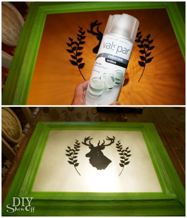 DIY frosted deer mirror tutorial