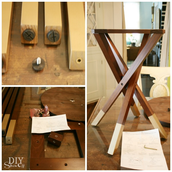 DIY side table with gold dipped legs look makeover