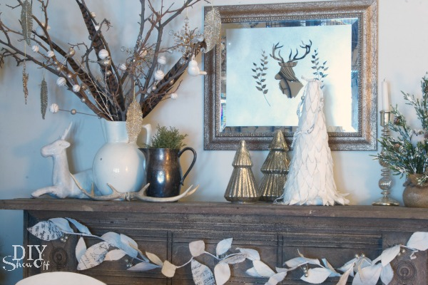 Frosted Mirror Christmas Mantel