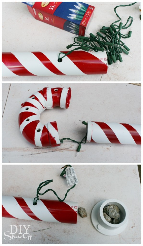 Lighted PVC Candy Cane Tutorial at diyshowoff.com