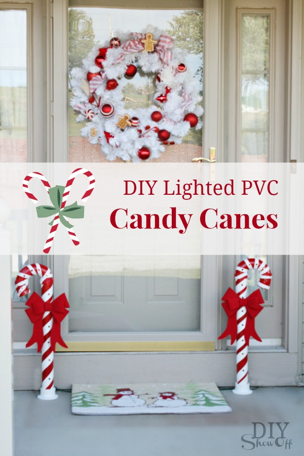 Lighted PVC Candy Canes Tutorial DIYShowOff