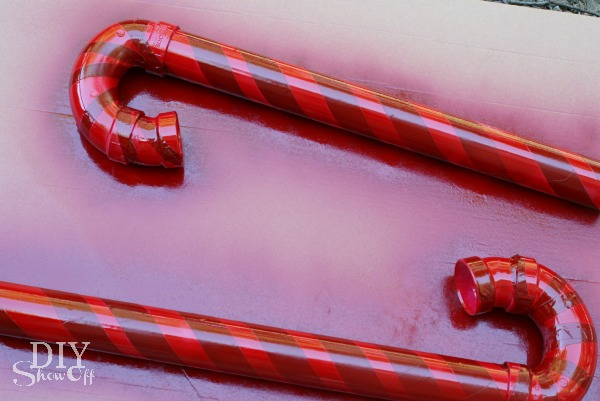 PVC candy cane tutorial - spray painting