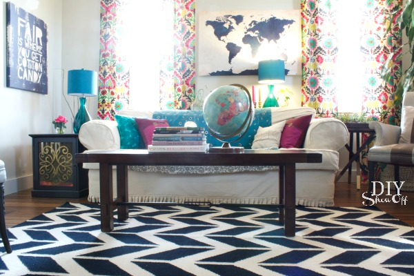 Colorful eclectic family room reveal diy show off Eclectic coffee table makeovers