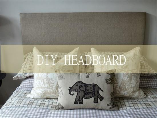 diy linen headboard at Lee Caroline Art