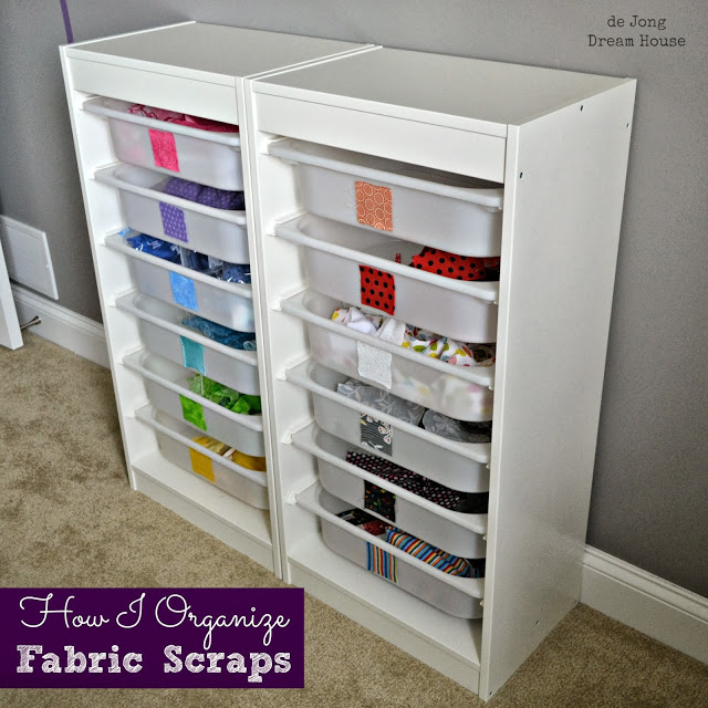 fabric scrap storage at de Jong Dream House