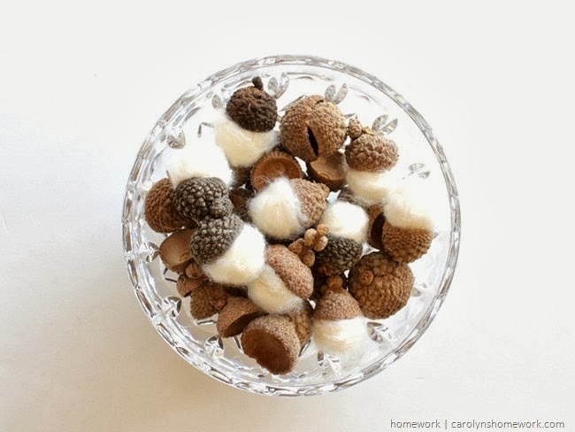 felted acorns at Carolyns Homework