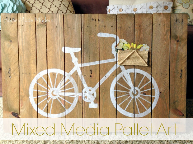 mixed media pallet art at HomeMadeModern