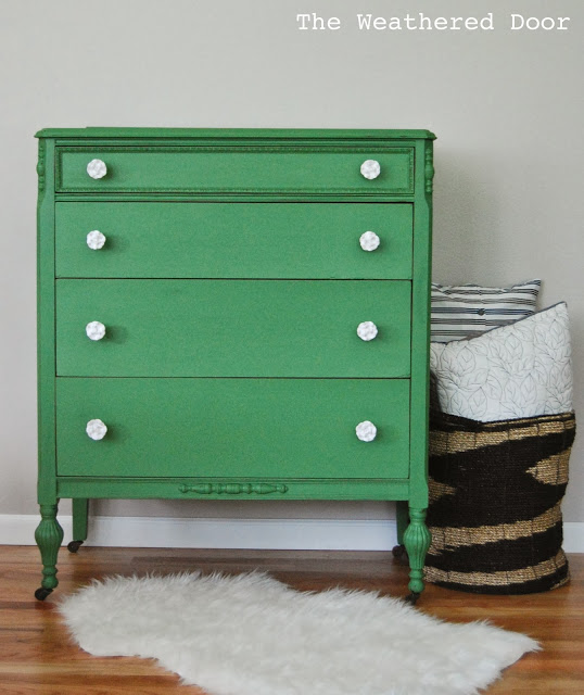 mossy green dresser at the Weathered Door