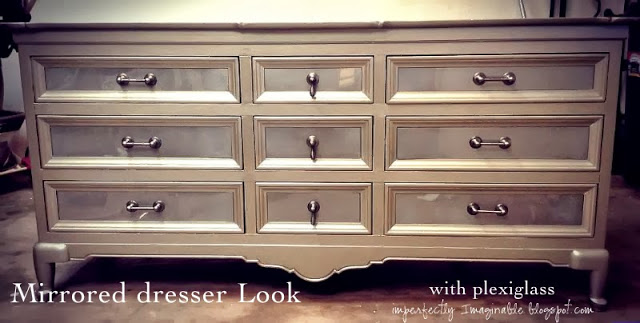 (plexiglass) mirrored dresser tutorial at Imperfectly Imaginable