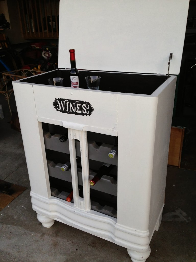 radio to wine cabinet at Thrifty Treasures