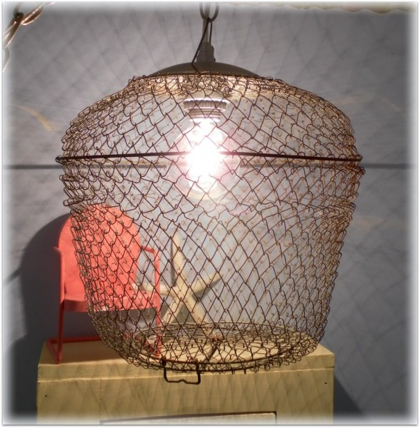 upcycled-bait-cage-pendant-light at Lisa's Creative Designs