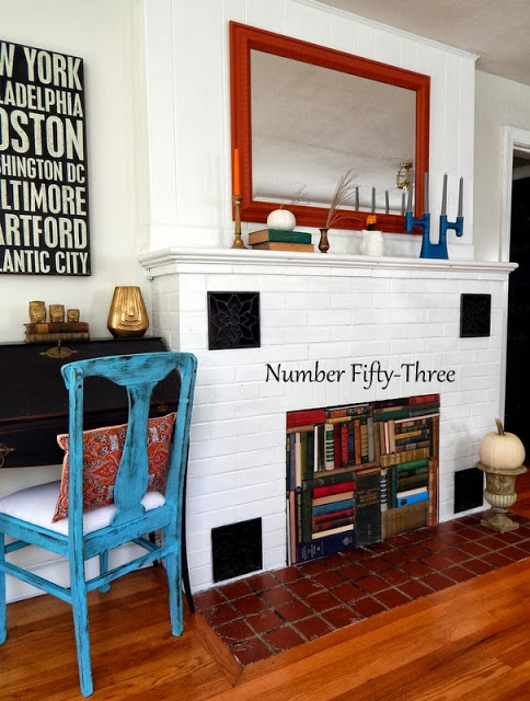vintage book firepace at Number Fifty Three