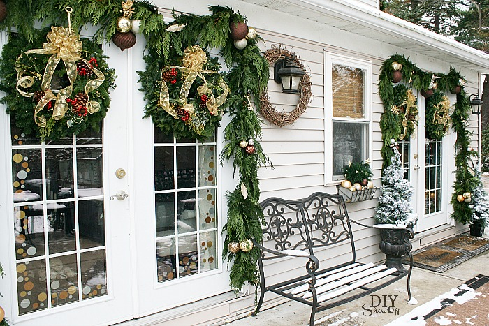 Christmas French Door Decor