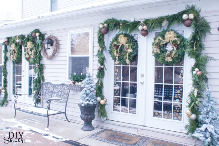 Wreaths Are Hung Using Over The Door Wreath Hangers Because Theyu0027re On The  Heavy Side. The Mixed Metallic Ornament Clusters Are Secured Using Floral  Wire.