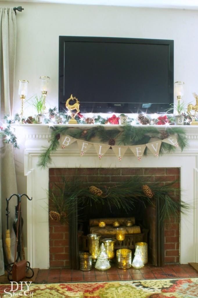 Christmas living room mantel