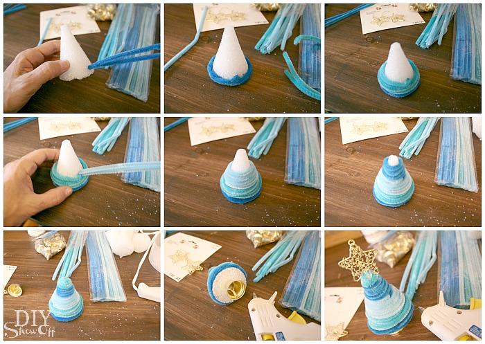 DIY pipe cleaner Christmas tree bell ornament tutorial