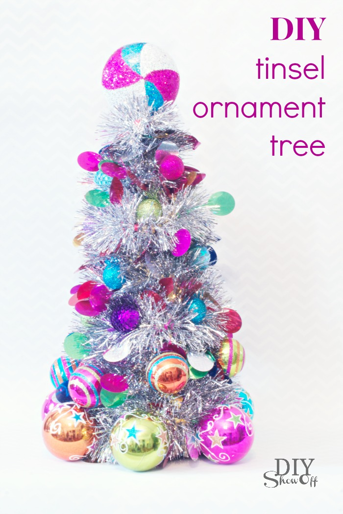 diy tinsel ornament tree tutorial - Tinsel Christmas Decorations