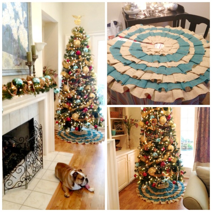Jillian's Ruffled Tree Skirt - blue and burlap