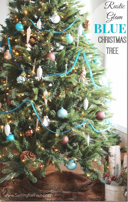 Rustic Glam & Blue Christmas Tree Decor - Setting for Four