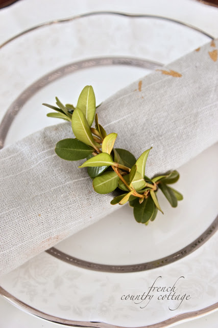 boxwood napkin rings - French Country Cottage