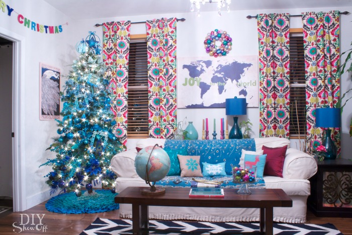 eclectic Christmas family room