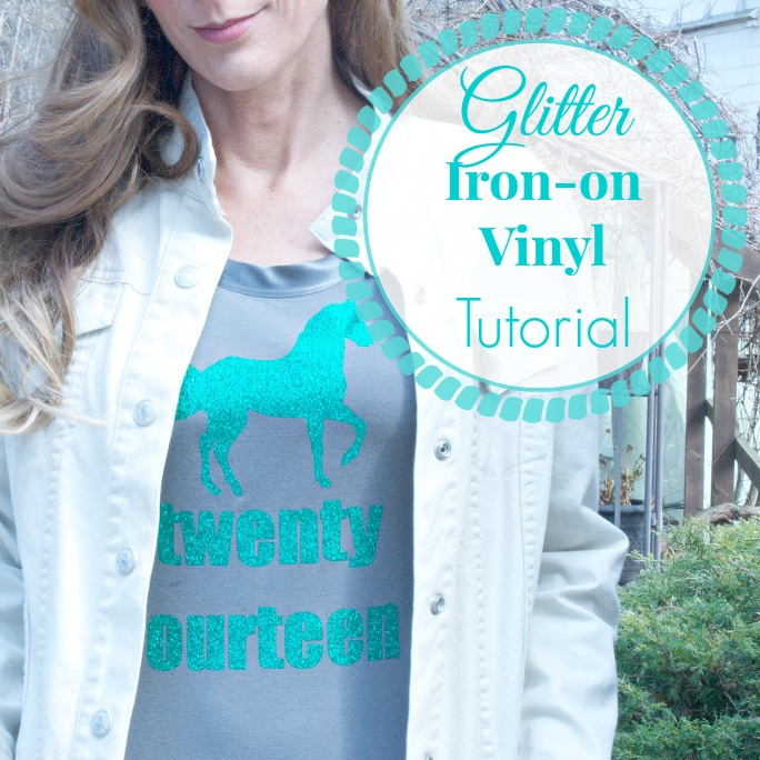 iron on vinyl glitter decal tshirt tutorial