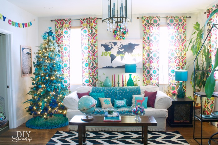 non traditional Christmas family room