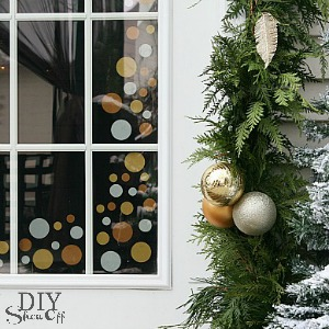 polka dot door Christmas decor