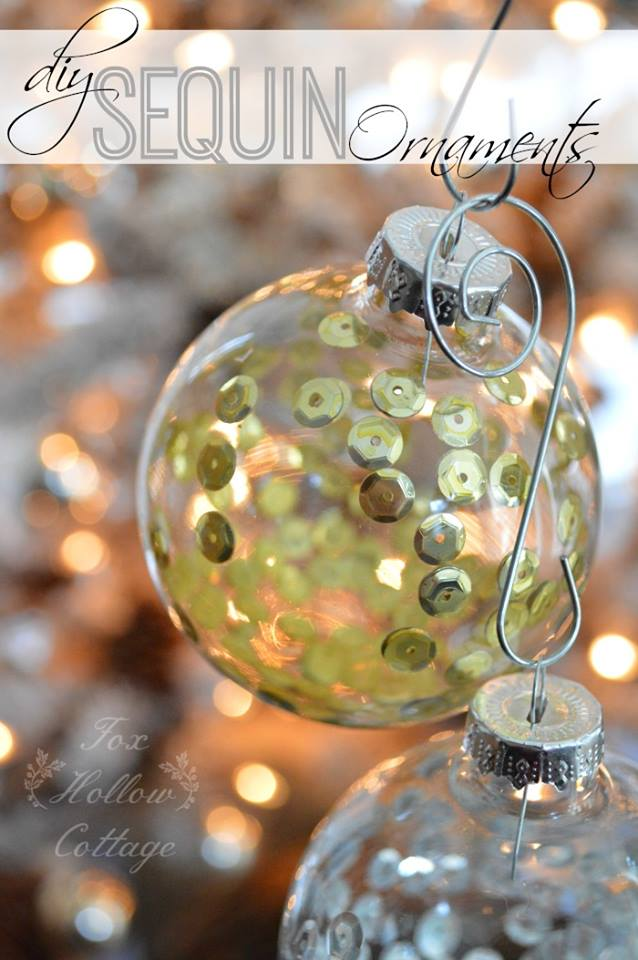 sequin ornaments - Fox Hollow Cottage