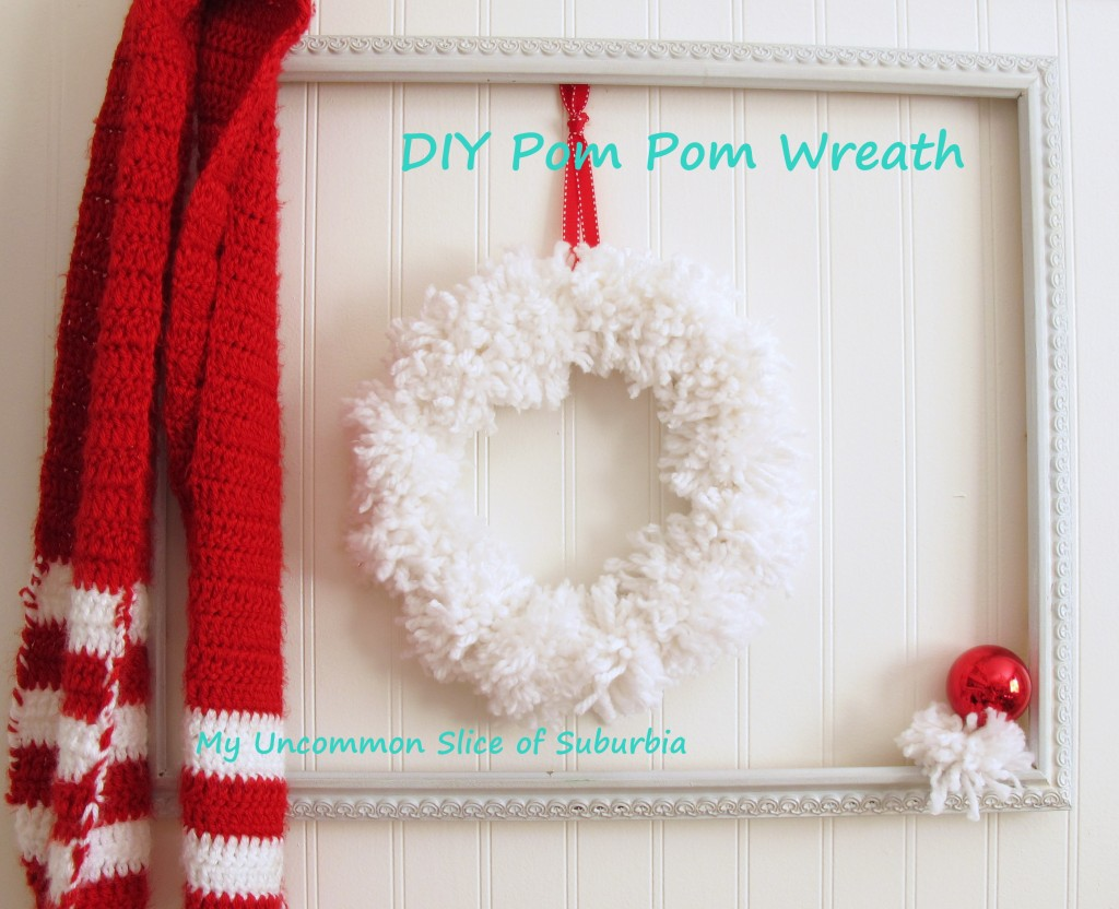 snowball pom pom wreath - My Uncommon Slice of Suburbia