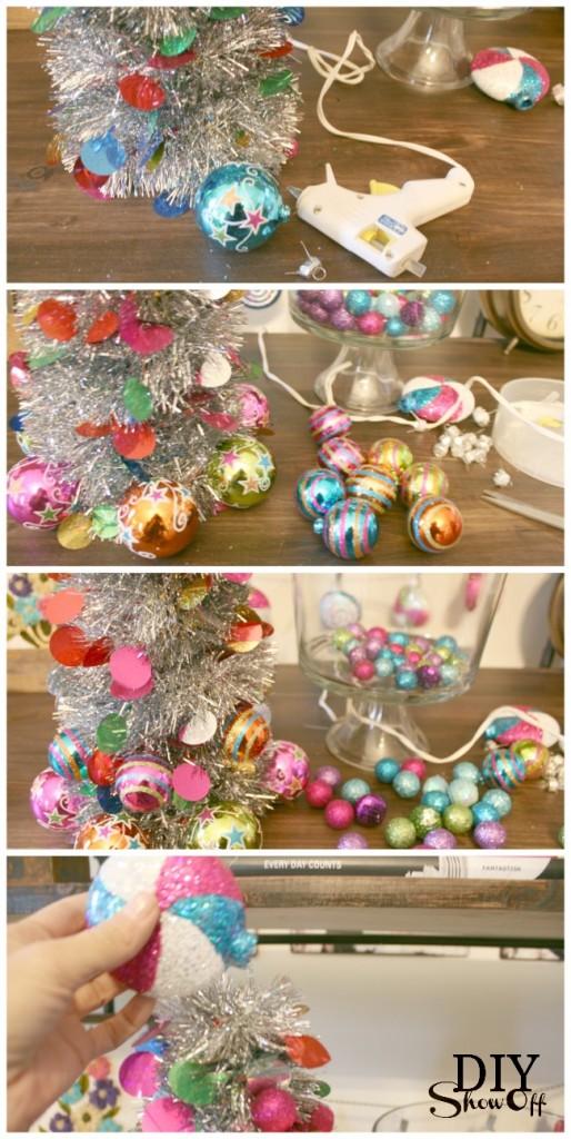 tinsel ornament Christmas tree instructions