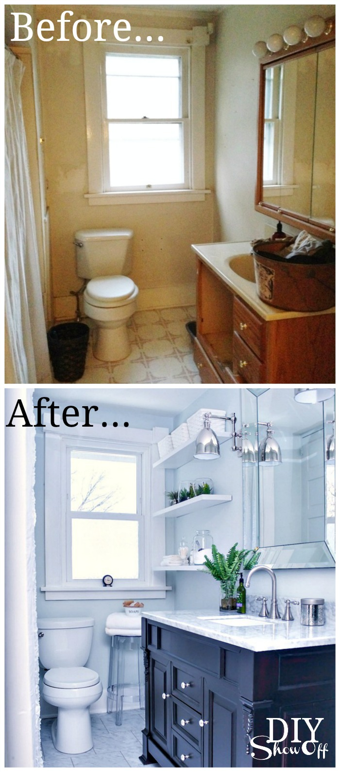 Incredible Bathroom Before And After Diy Show Off Diy Decorating Best Image Libraries Thycampuscom