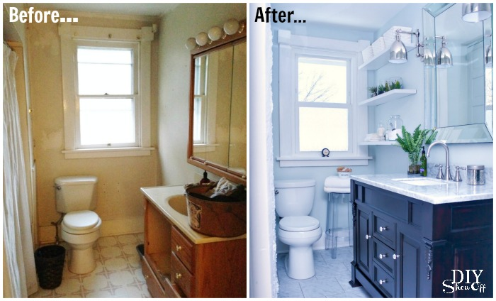 Bathroom before and after