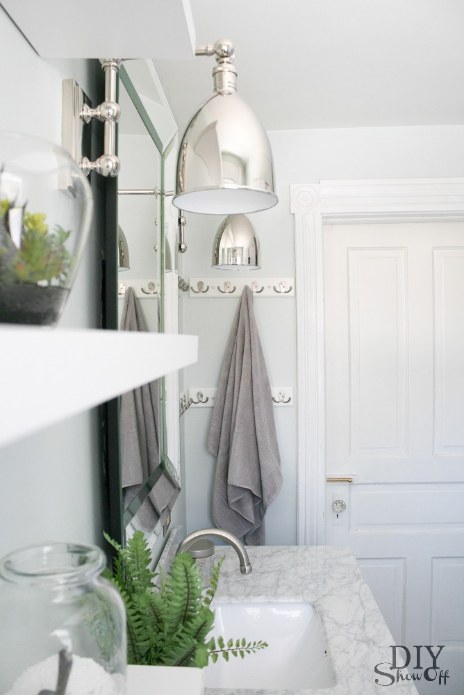 Beautiful  lighting from LampsPlus Bathroom storage DIY bathroom makeover