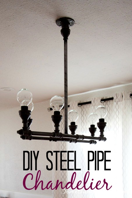 DIY steel pipe light fixture at Something is Done