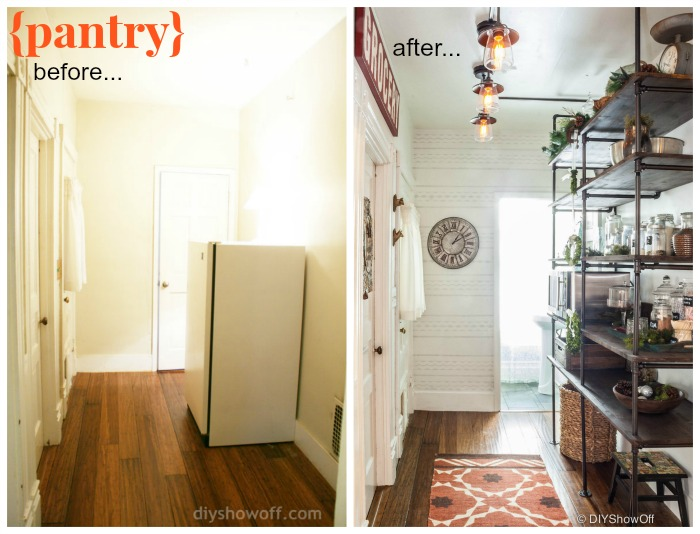 DIYShowOff Open Pantry before and after makeover