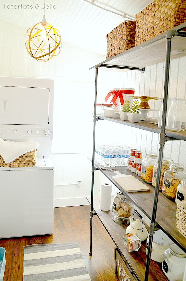 TaterTots & Jello pantry laundry room industrial pipe shelving