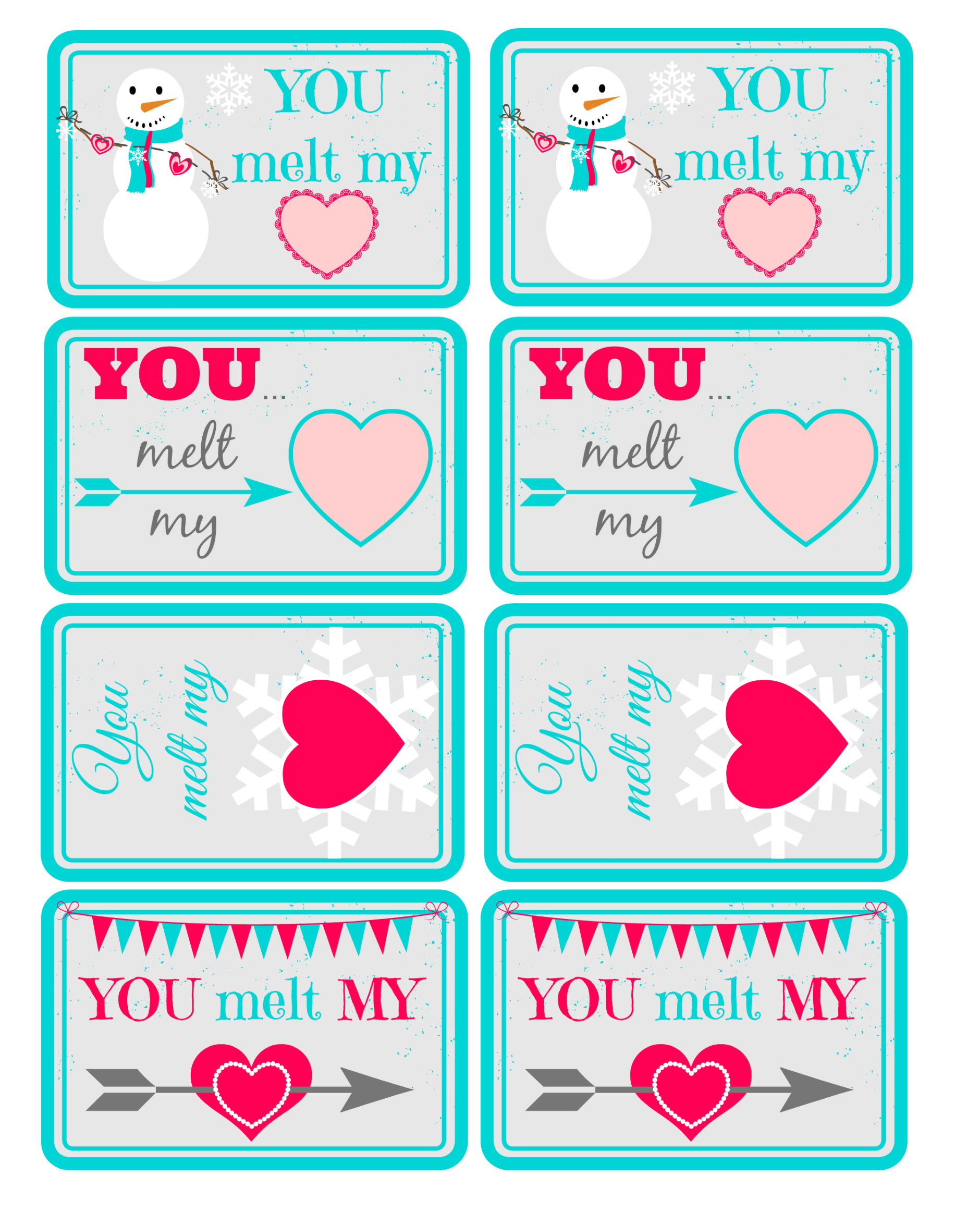 You Melt My Heart Valentine Prinatable