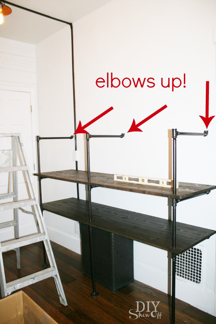 tips for making a diy industrial pipe shelving unit page. Black Bedroom Furniture Sets. Home Design Ideas