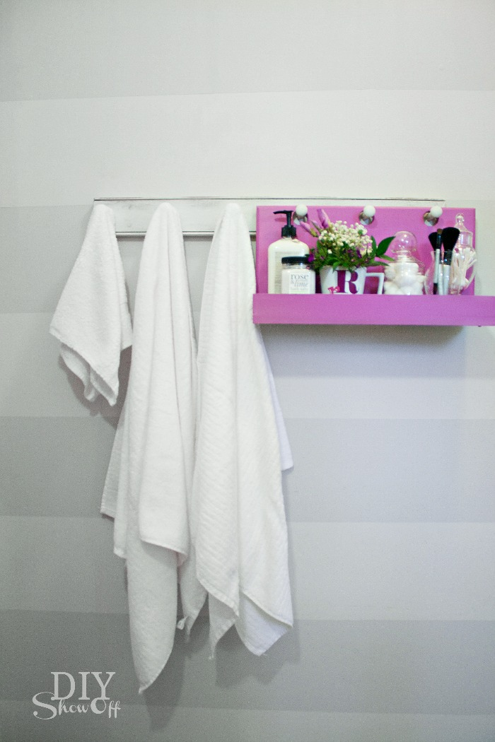 bathroom organization - DIY peg hook hanging shelf